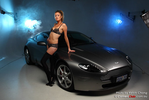 Beautiful Glamour Lingerie Model At Aston Martin Promotion
