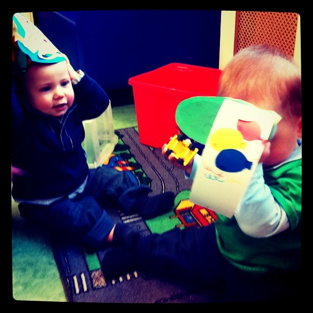 William & Miles celebrating their birthday at daycare  Tom