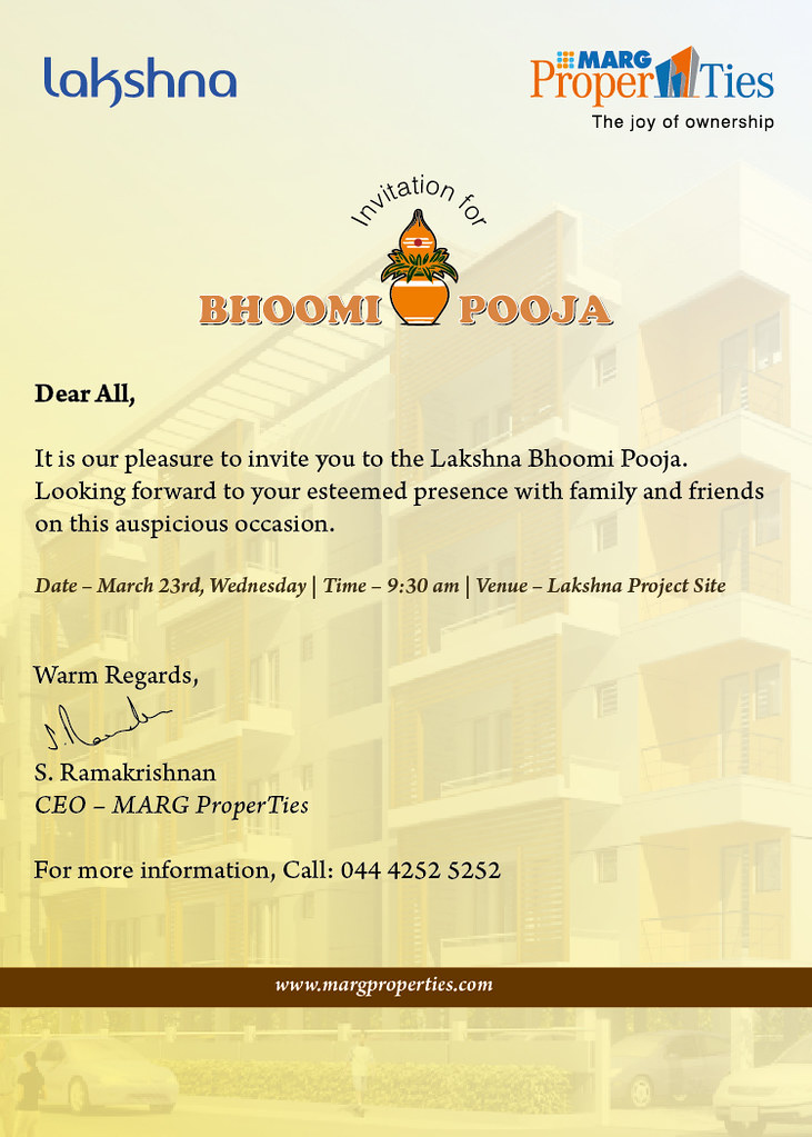 Bhoomi pooja invite it is our pleasure to invite you to la flickr bhoomi pooja invite by marg properties stopboris Choice Image