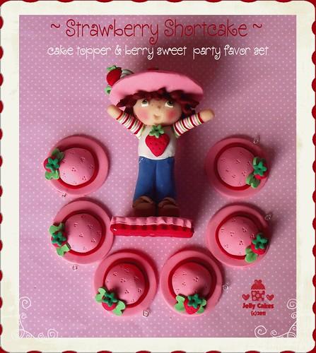 Strawberry Shortcake Cake Topper Set