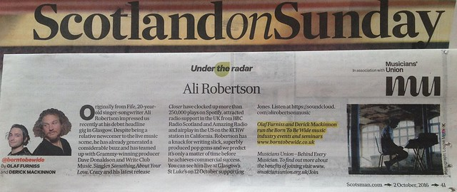 Scotland On Sunday, 2 October 2016, Ali Robertson