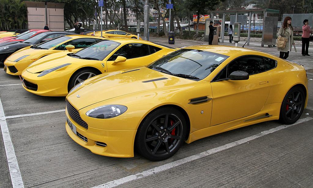Yellow Aston Martin Vantage Ferrari 458 Lamborghini Gall Flickr