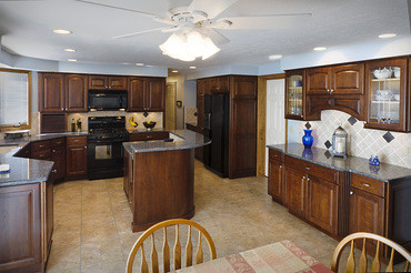 ... Kitchen Remodeling: Blue Pearl Granite Countertops With Cherry Cabinets  | By Hughes Kitchens U0026 Baths