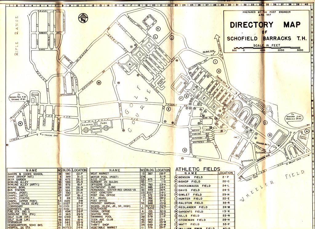 1953 Map of Schofield Barracks Oahu Hawaii Oct 1953