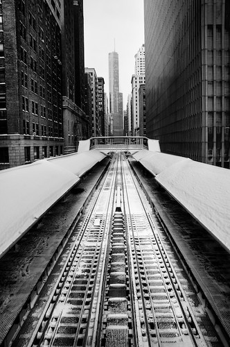 "Looking north over the ""L"" tracks 