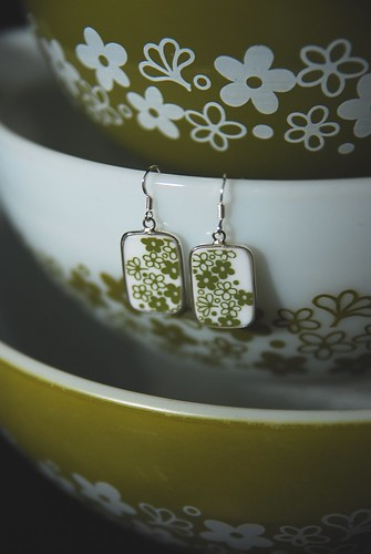 Sping Blossom Corelle/Pyrex Square Earrings | by kitchenkel