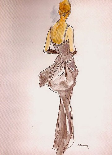 Evening gown by Jacques Fath illustrated by Bernard Blossac, 1949 | by skorver1