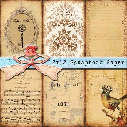 12x12 Antique Patchwork Scrapbook Paper Sepia Hearts A Flickr