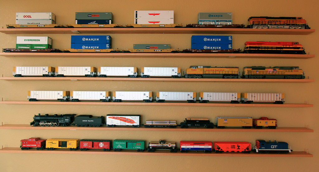 model train collection on shelves cypress rail roy luck flickr rh flickr com model train shelf layout services model train shelf layout services