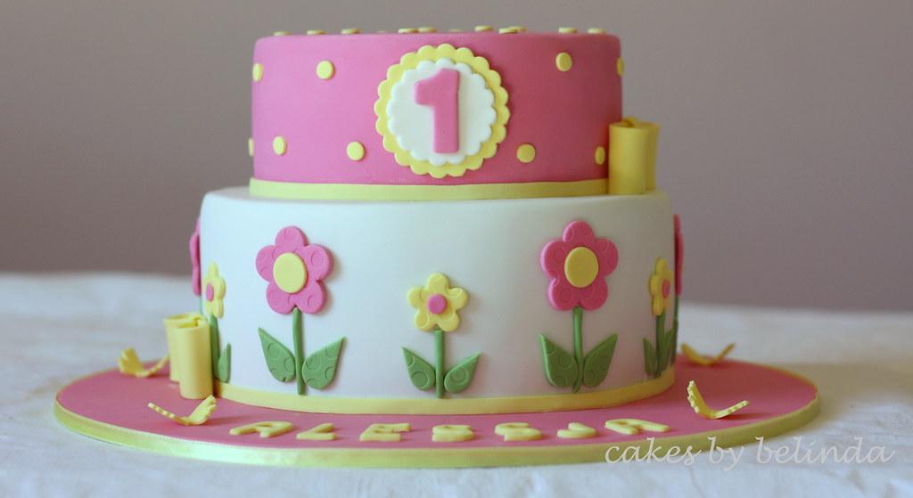 By Belinda H Flower 1st Birthday Cake