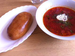 Vegetable Borsch and bacon, potato and onion piroshky at Russian Passion, Edinburgh | by www.theedinburghblog.co.uk