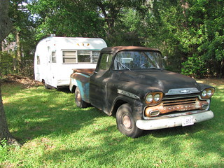 1958 chevy pickup with 1965 mobile scout let 39 s go. Black Bedroom Furniture Sets. Home Design Ideas