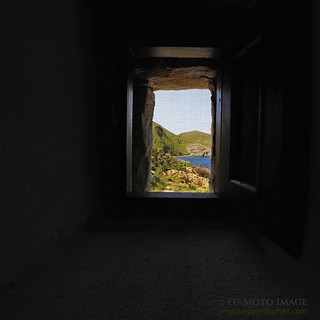 Ελληνικά Ελλαδα Greece Porto Kayio Kagio Mani view trough chappel window (c) Bernhard Egger :: eu-moto images 0709 | by :: ru-moto images