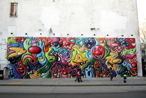 Nyc east village bowery mural kenny scharf 39 s the gate for Bowery mural nyc