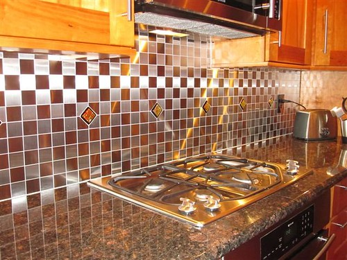 Kitchen Backsplash Glass Mosaictiles In Stainless Steel Ti Flickr