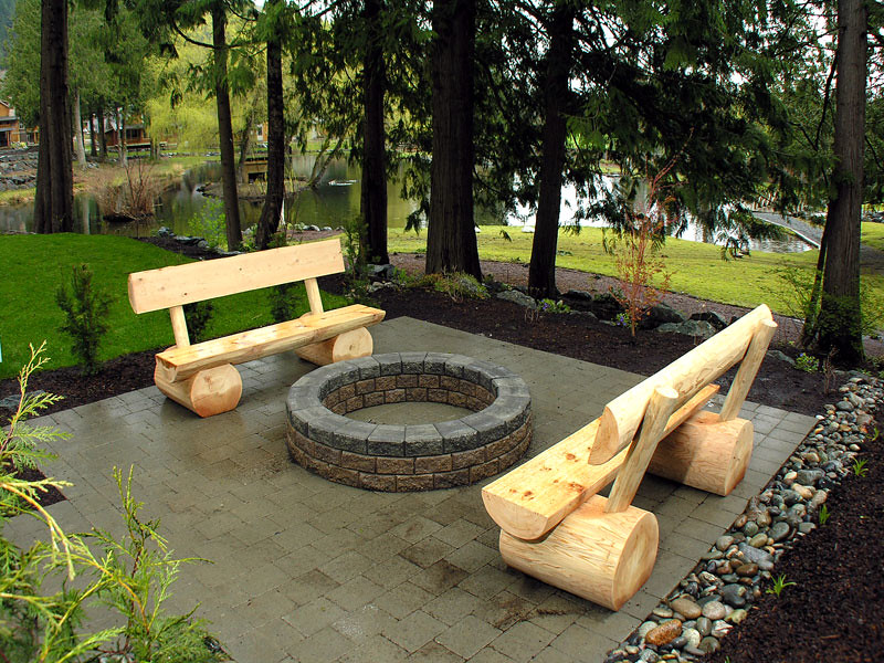 ... Custom Built Log Benches And Wood Burning Fire Pit, In The Back Yard |