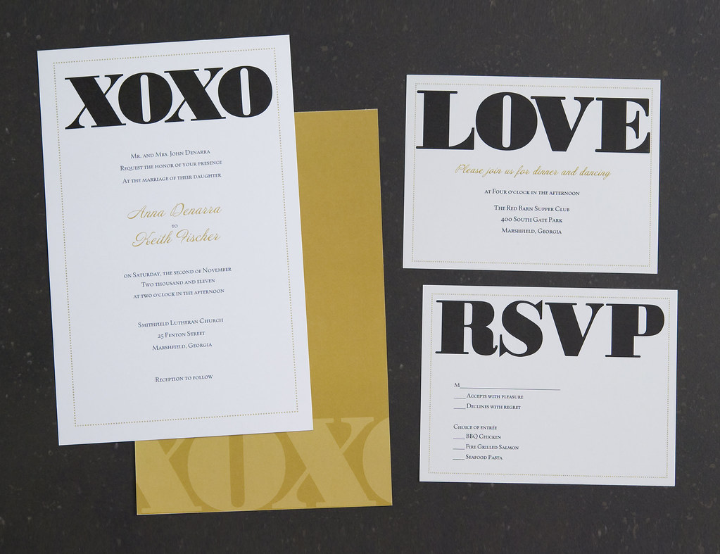 Vistaprint Wedding Invitation - Black/Gold XOXO #2 | Flickr