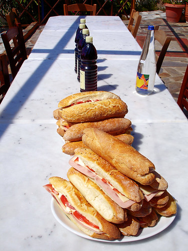 Sandwiches and wine for all on the 1st day after work - well diserved fuel!!!