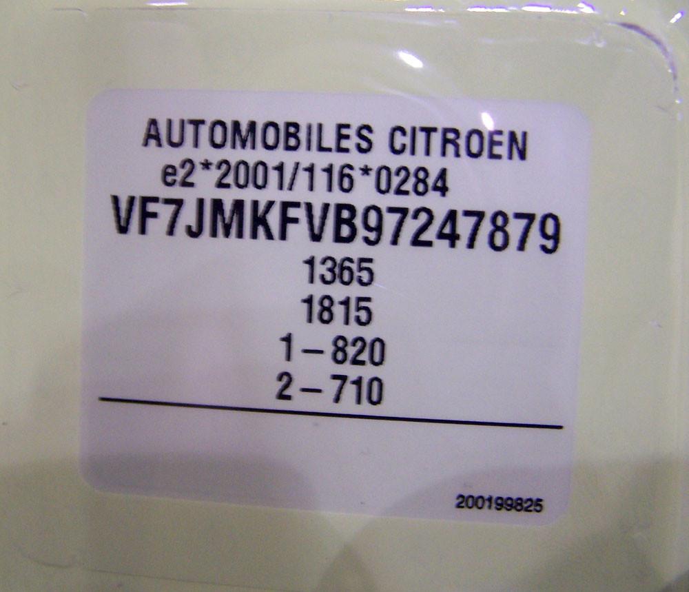 Citroen C2 serial number plate (VIN tag) | Citroen C2 serial… | Flickr