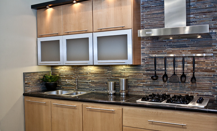 Stunning Slate Mosaic Kitchen Backsplash By The Tile Shop With Slate Kitchen Tiles