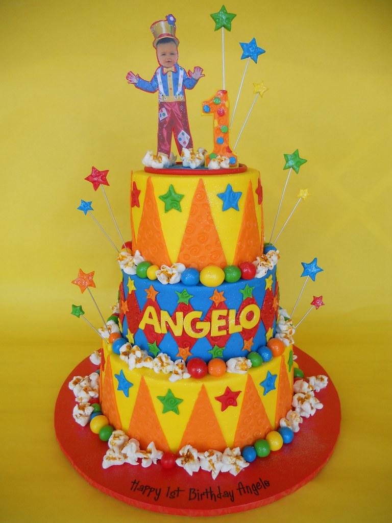 Carnival Clown 1st Birthday Cake Amy Stella Flickr