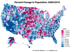 U.S. Counties:  Population Change 2000-2010