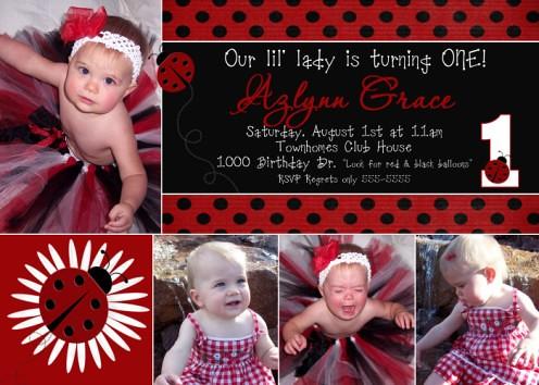 Ladybug 1St Birthday Invitations gangcraftnet – Ladybug Photo Invitations 1st Birthday