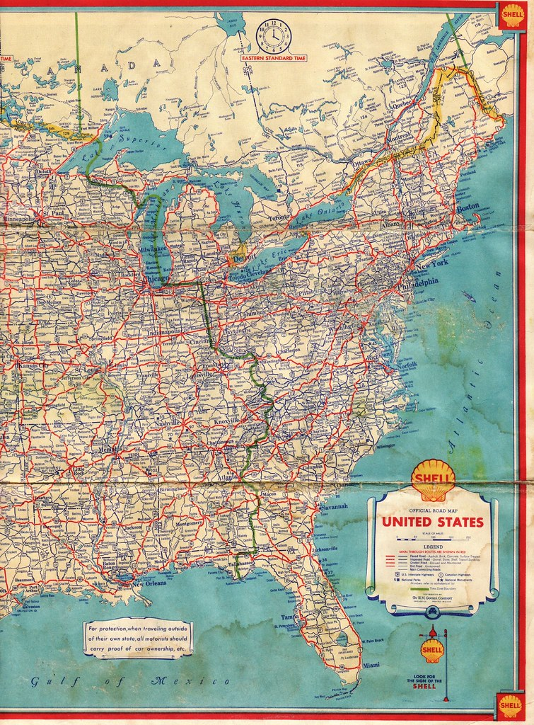 Road Map Eastern Usa - Large us road wall map