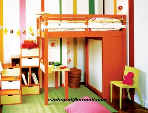 Cama alta con closet escritorio silla escalera con 6 cajon for Silla escritorio alta
