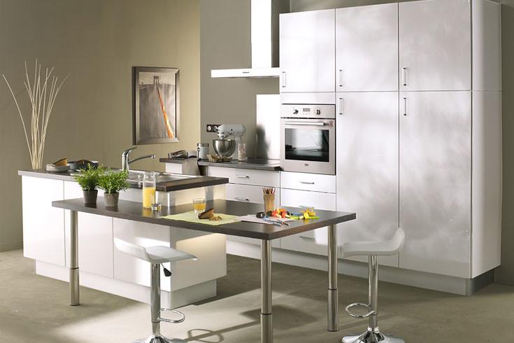Excellent cuisine quipe blanche modle design brillant - Prix pose cuisine darty ...