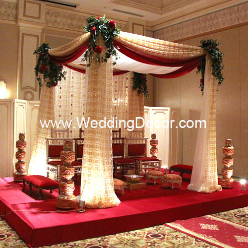 Mandap - red, gold & ivory | A wedding mandap in red, gold a… | Flickr