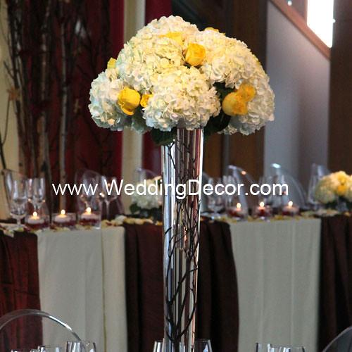 Wedding Centerpieces - birch branches, hydrangea & yellow …   Flickr