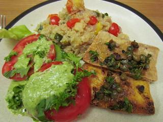 Fresh Tomato Salad; Oh-My-Goddess Dressing; Crispy Tofu with Sizzling Caper Sauce; Quinoa and Summer Squash Pilaf