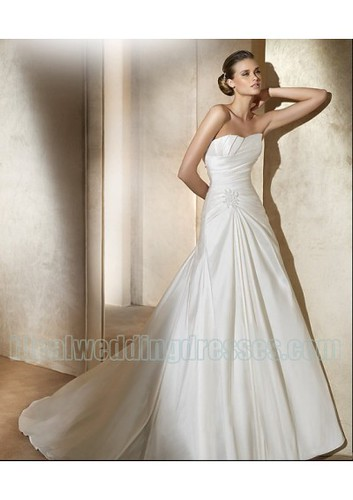 Taffeta Strapless Soft Neckline with Rouched Bodice and A line Skirt 2011 Custom Made Zipper Wedding Dresses WD-0423 | by churcy