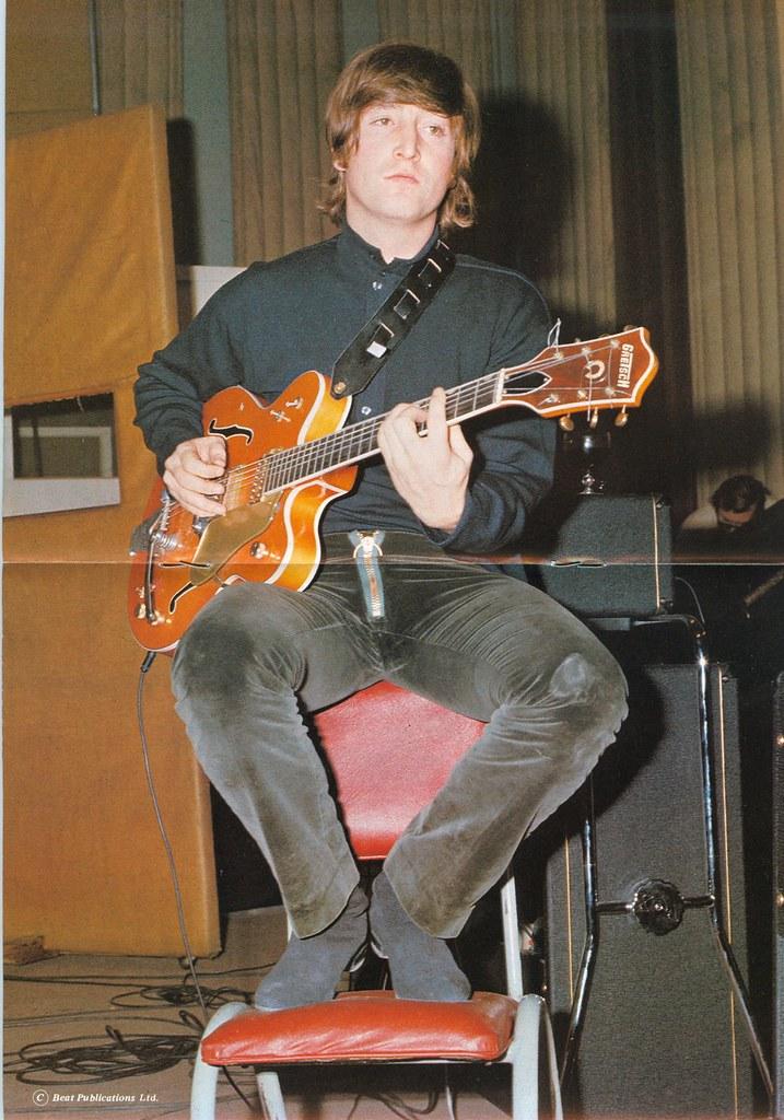 John Lennon With Gretsch 6120 Guitar In 1966