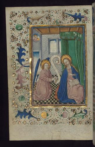 illuminated manuscript  book of hours in dutch  annunciati