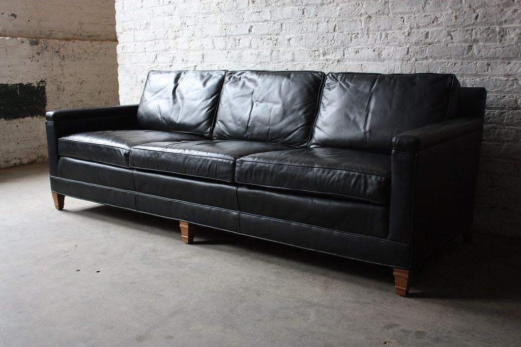 Delicieux ... 1971 Distinctive Mid Century Modern Drexel Heritage Leather Sofa (High  Point, North Carolina, 1971
