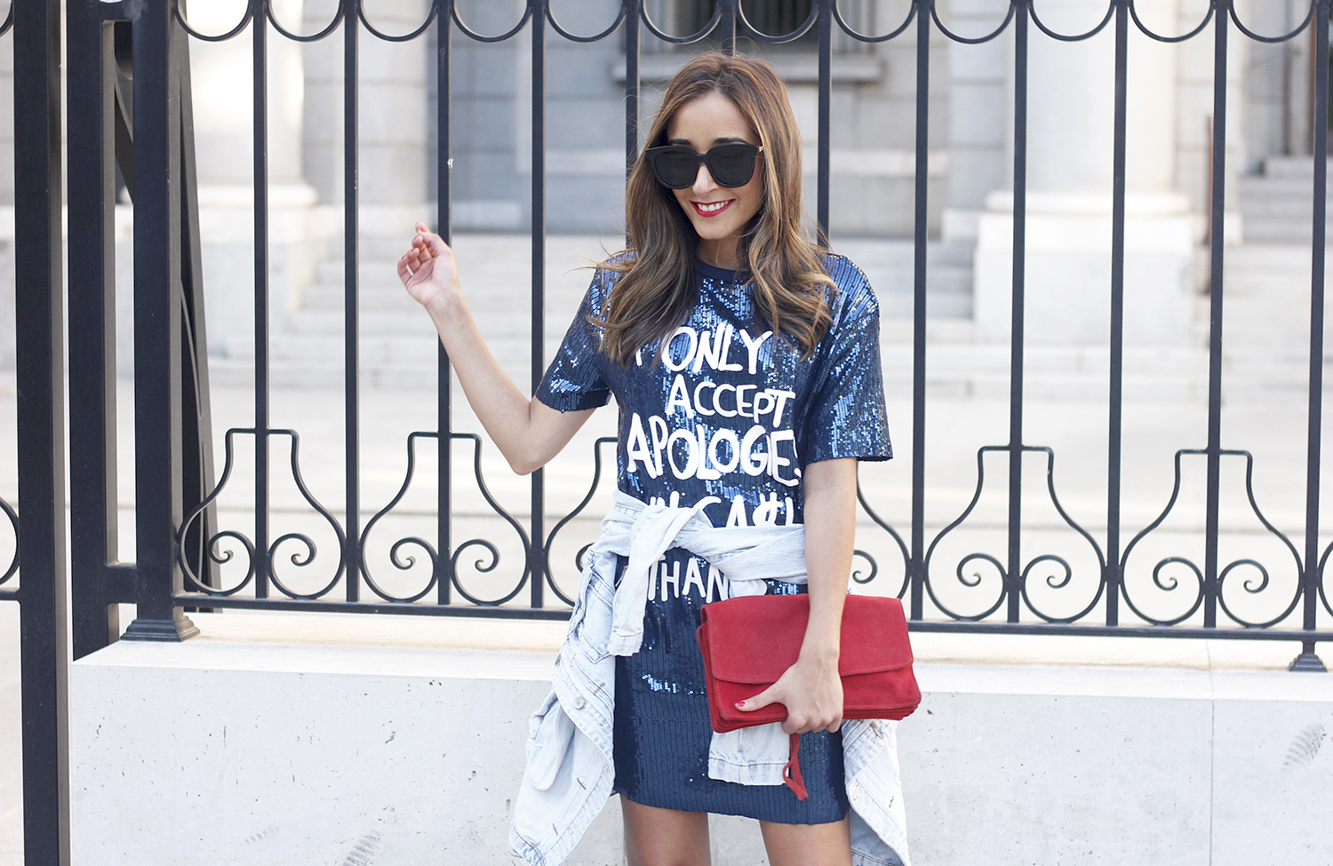 blue sequined dress nude heels denim jacket sunnies red bag accessories style fashion outfit17