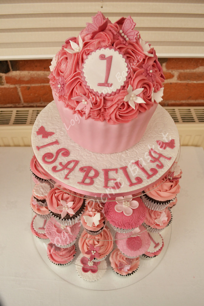 1st Birthday Pretty In Pink Giant Cupcake Tower Liz Crook Flickr