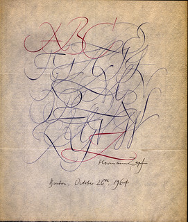 Zapf Calligraphy Written Rapidly In Ball Point Pen Over