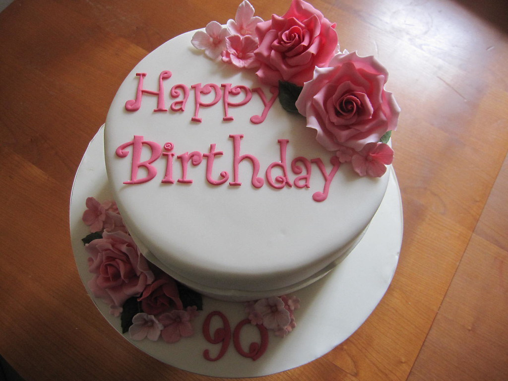 90th Birthday cake Roses Hydrangea 90th Birthday cake Flickr