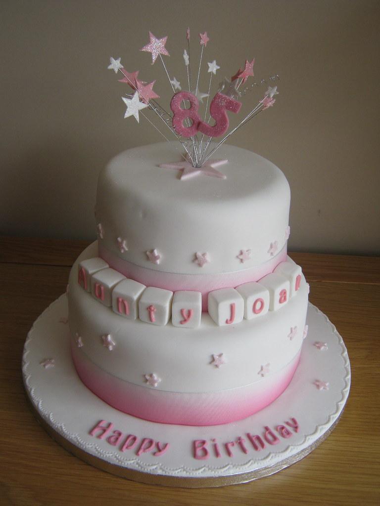 85th Birthday Cake 2 Tier Vanilla And Chocolate Sponge Cak Flickr