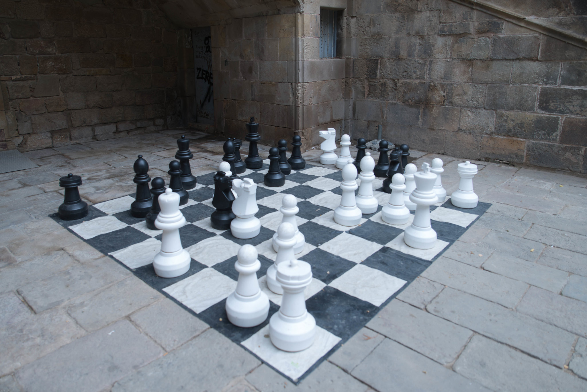 Extra large chess set in Barcelona Spain