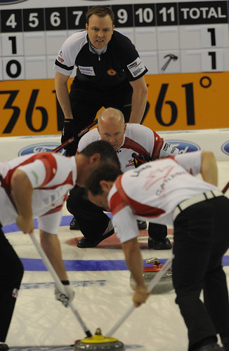 Basel Switzerland.April7-2012.Men's World Curling Championship.Canada skip Glenn Howard,3rd.Wayne Middaugh,2nd.Brent Laing,Scotalnd Skip Tom Brewster.CCA/michael burns photo | by seasonofchampions