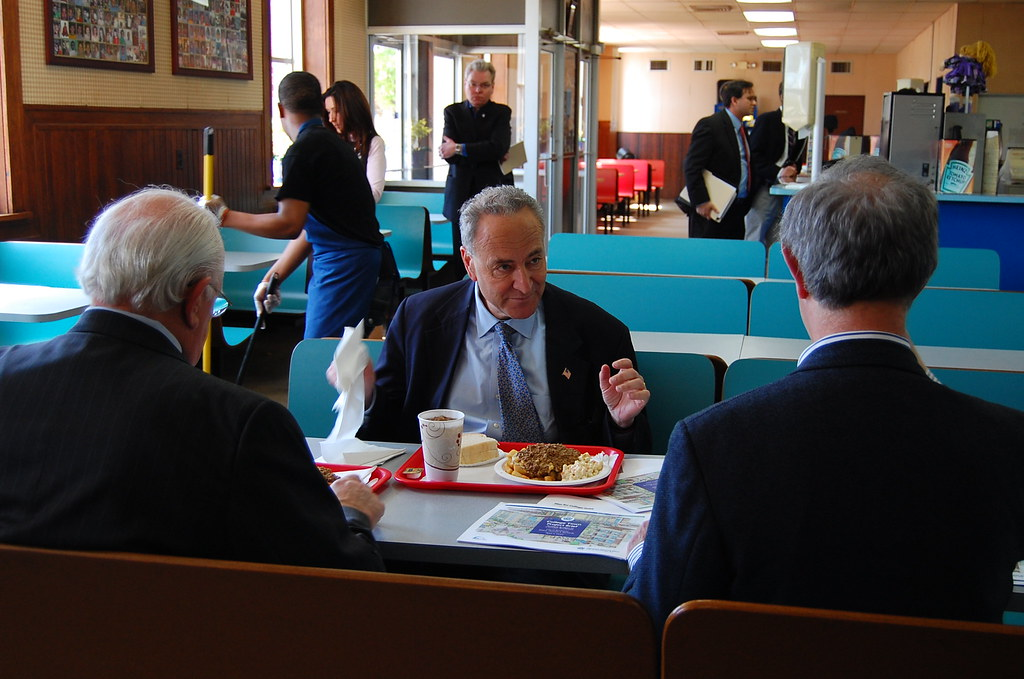 U Of R President Joel Seligman And Mayor Tom Richards Enjoying A Famous Garbage Plate While Discussing His Effort To Secure 20 Million Dollar HUD Loan