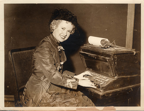 1933 iii 25 anon for Int'l News New York - Lady typist at 1st typewriter at YWCA | by blacque_jacques