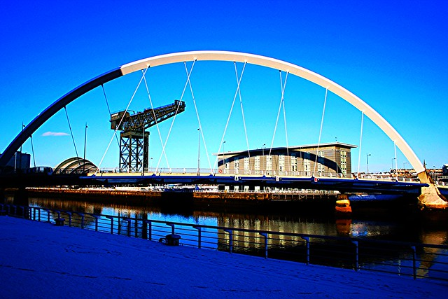 Squinty Bridge over River Clyde, Glasgow, Scotland