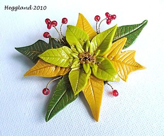 White poinsettia brooch | by Mila Heggland, polymer and beaded creations