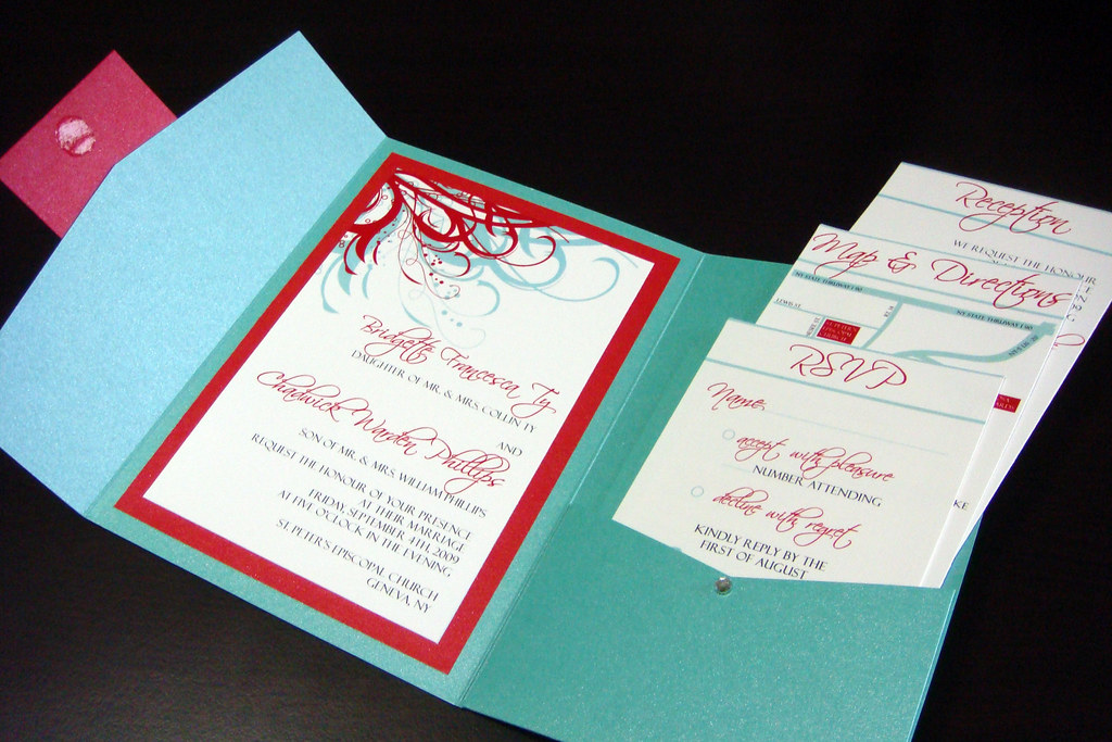 Aqua (Tiffany Blue) and Red Wedding Invitations | Please con… | Flickr