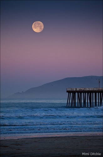 Moonset At Pismo Beach | by Mimi Ditchie